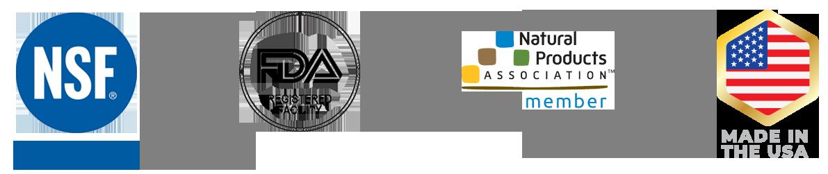 NSF, FDA, NPA and USA Made logos