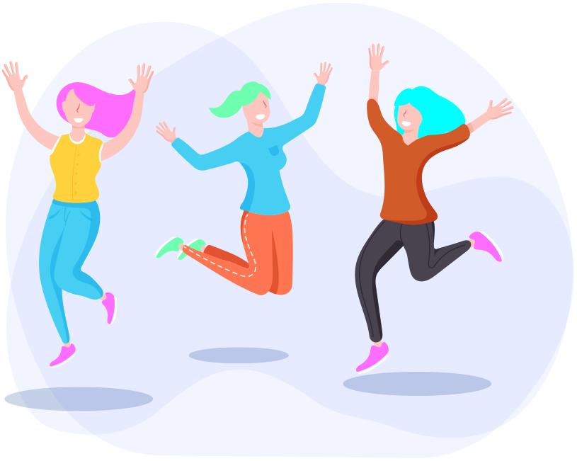 Girls jumping in joy
